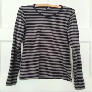 Marimekko Purple Striped Long Sleeve Crew Neck Top